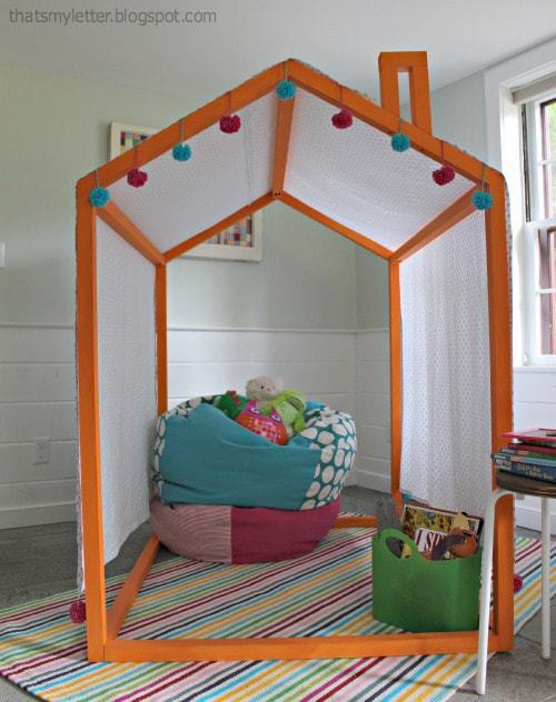 diy open playhouse frame with canopy