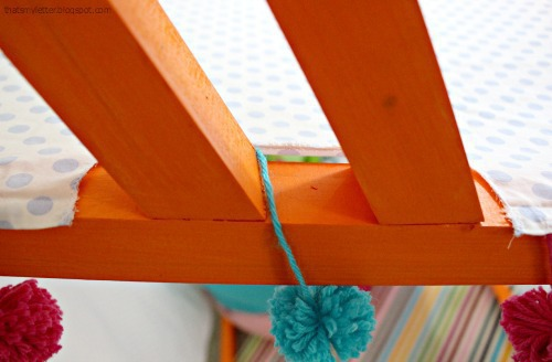 diy playhouse canopy with pom pom trim