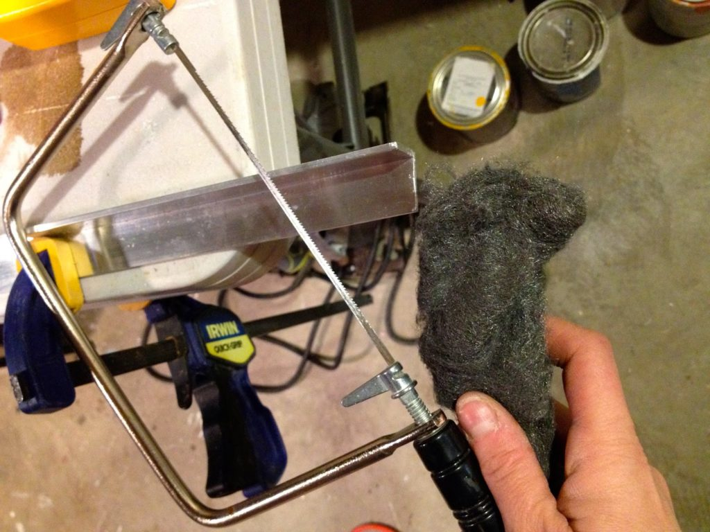 cutting aluminum with coping saw and steel wool