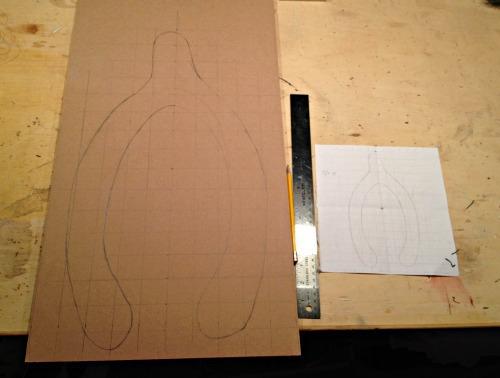 wishbone shape drawn on MDF