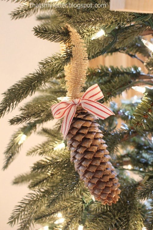pinecone ornaments with ribbon