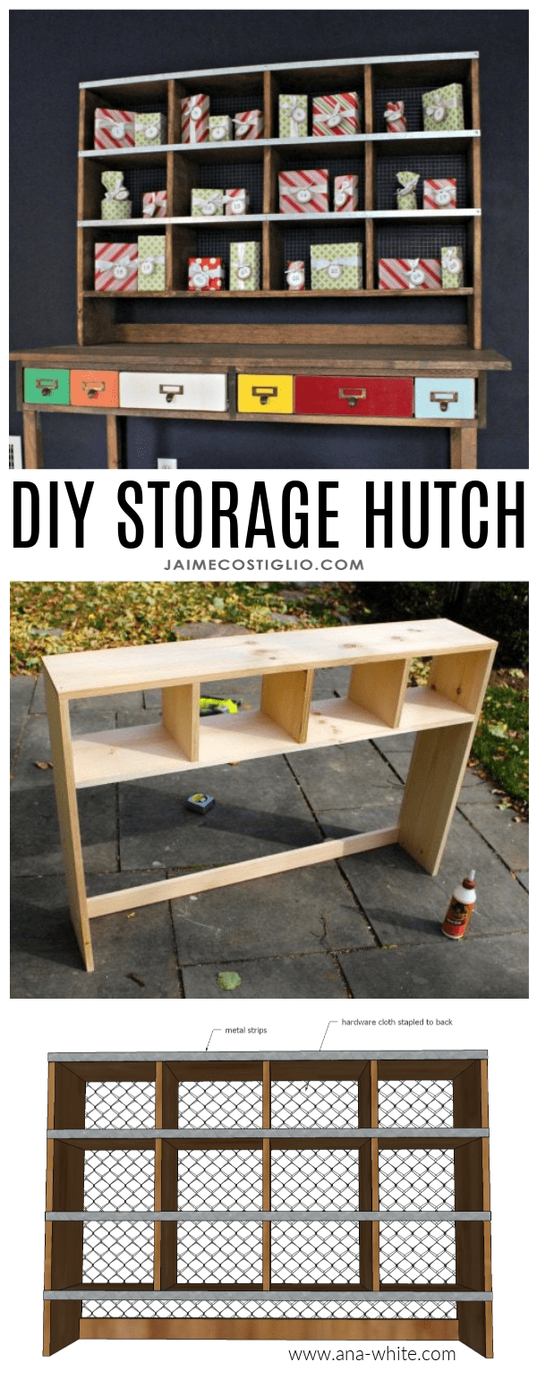 desk storage hutch free plans