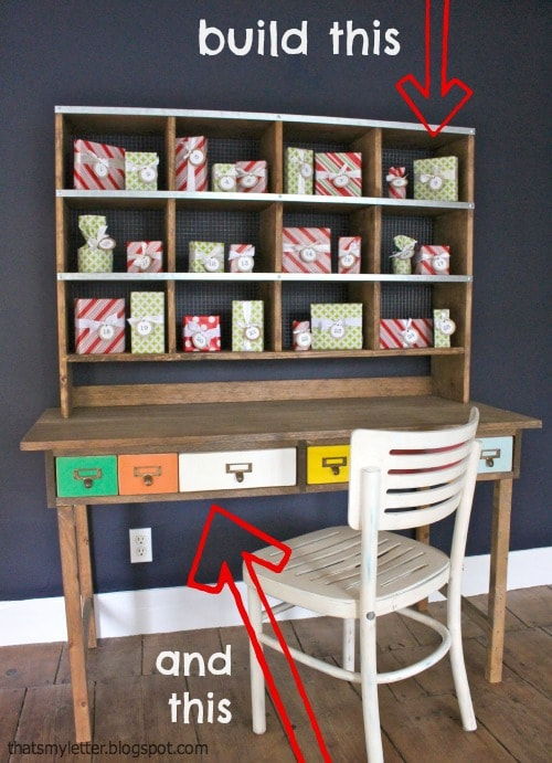 diy kids play desk with storage hutch