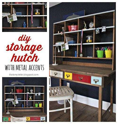 diy storage hutch with metal accents free plans