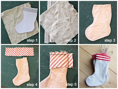 diy mini stocking ornament steps