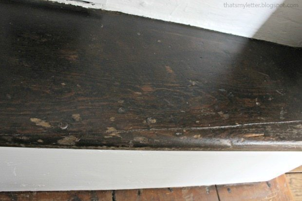 antique farmhouse stained stair tread