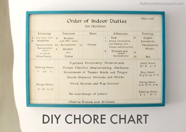 diy chore chart historical replica Orchard House