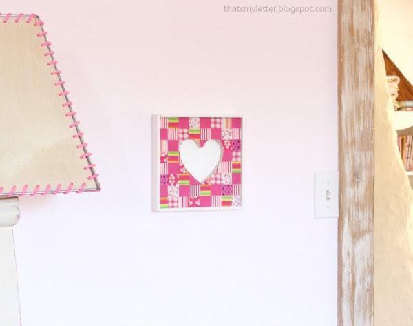 diy fabric collage heart wall art