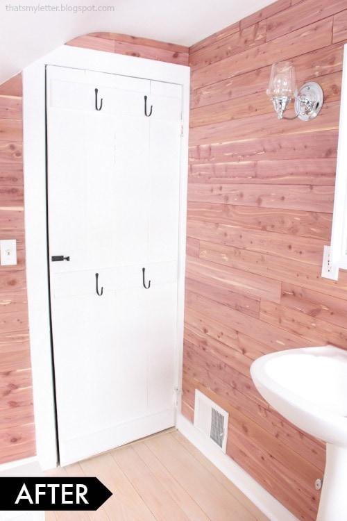 diy white bathroom makeover cedar planked walls