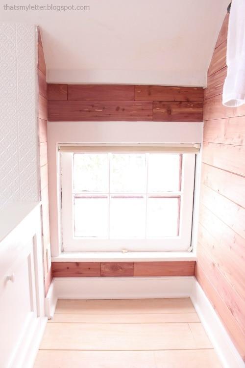 diy bathroom makeover cedar walls low window