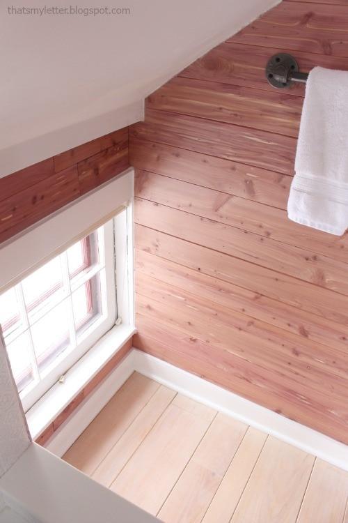 diy bathroom makeover cedar walls