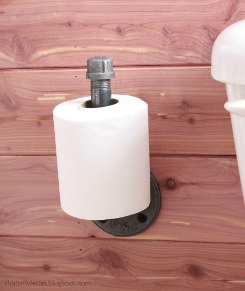 cedar planked walls pipe toilet paper holder