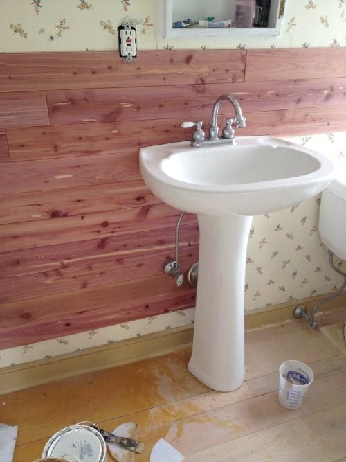 diy bathroom makeover in progress