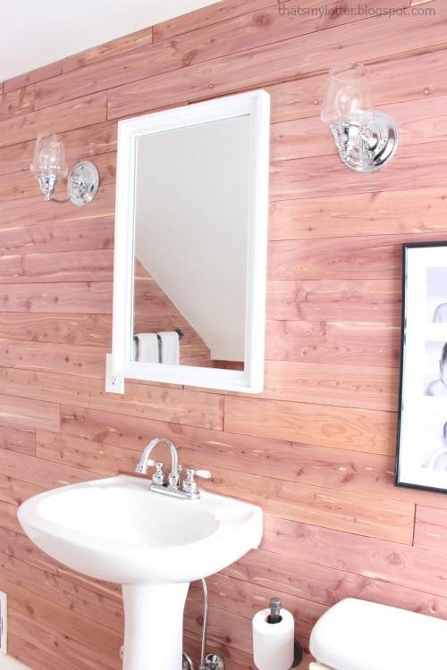 diy bathroom makeover cedar planked walls