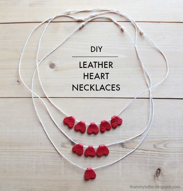 diy leather heart necklace kids craft