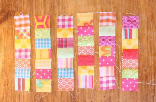 "1 1/2"" fabric strips in rows"