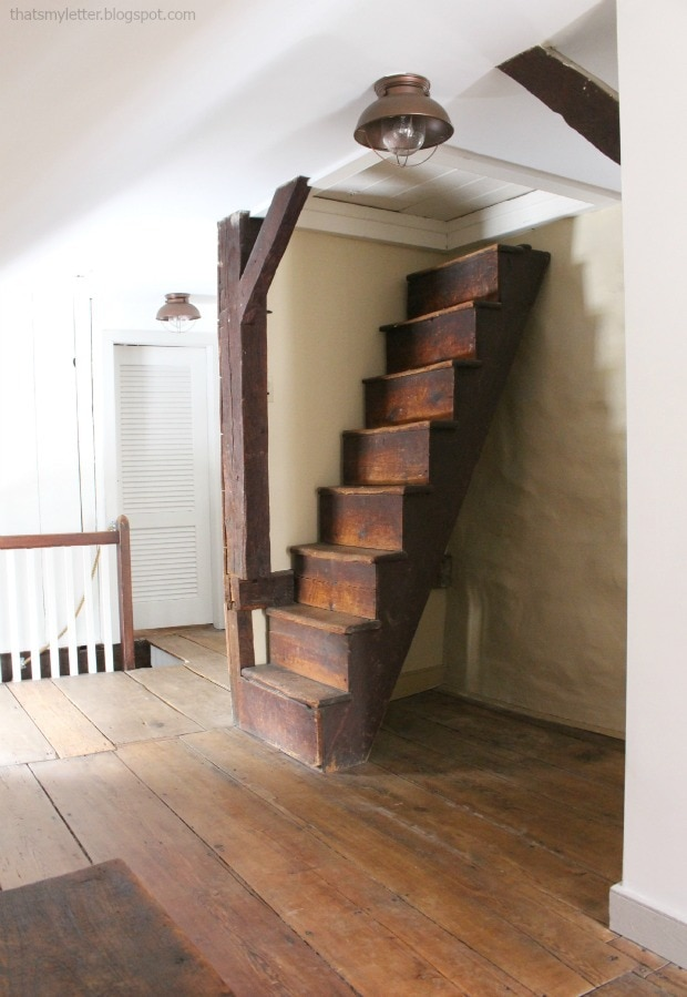 antique farmhouse attic stairs second floor makeover