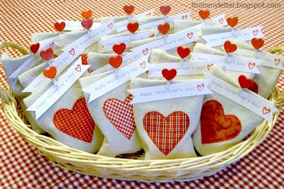 diy drop cloth goody bag valentines