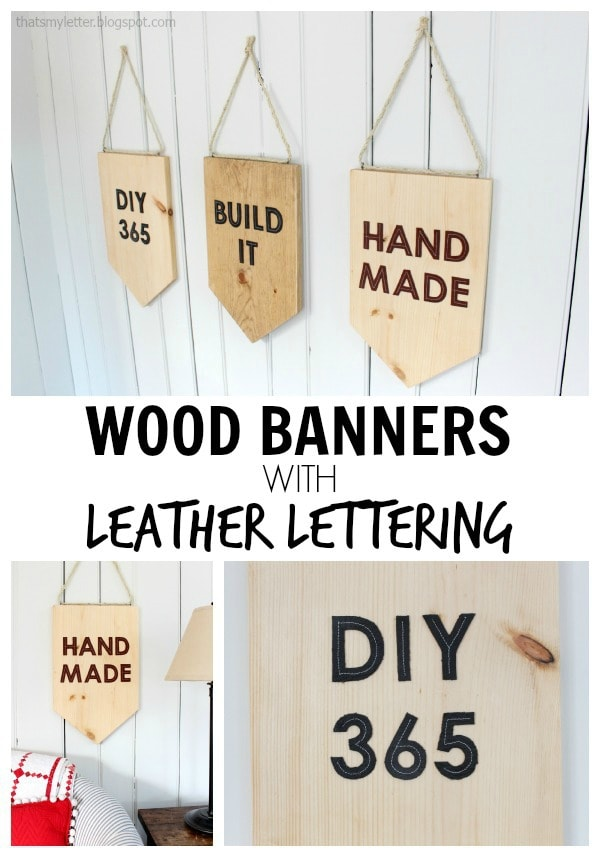 diy wood banner with leather lettering