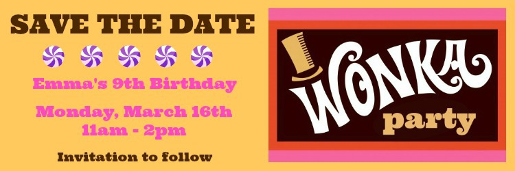 diy save the date willy wonka party