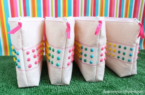 diy candy button zipper pouches
