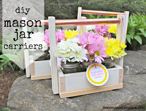 diy mason jar carrier with pipe handle