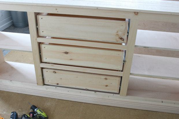 sideboard cabinet drawers installed