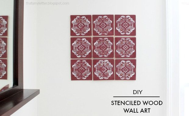 diy stenciled wood wall art