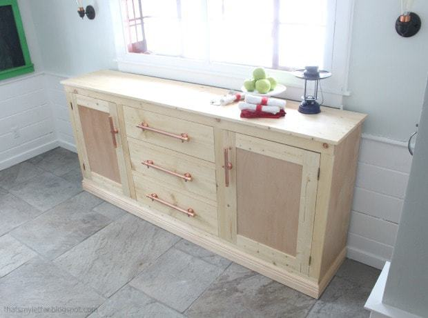long sideboard with serving surface area