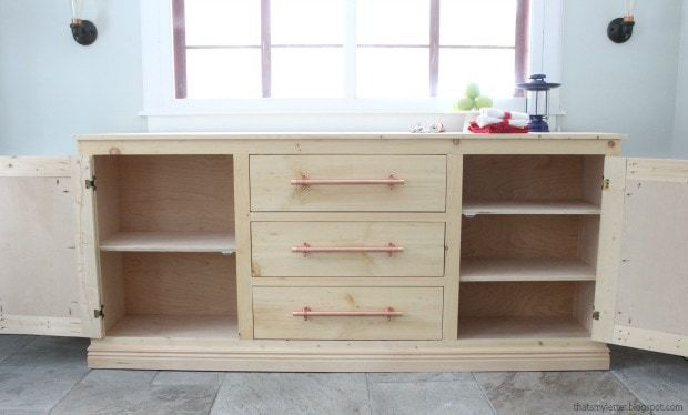 long sideboard cabinet doors open