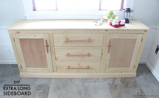 diy extra long sideboard with copper pipe hardware pulls