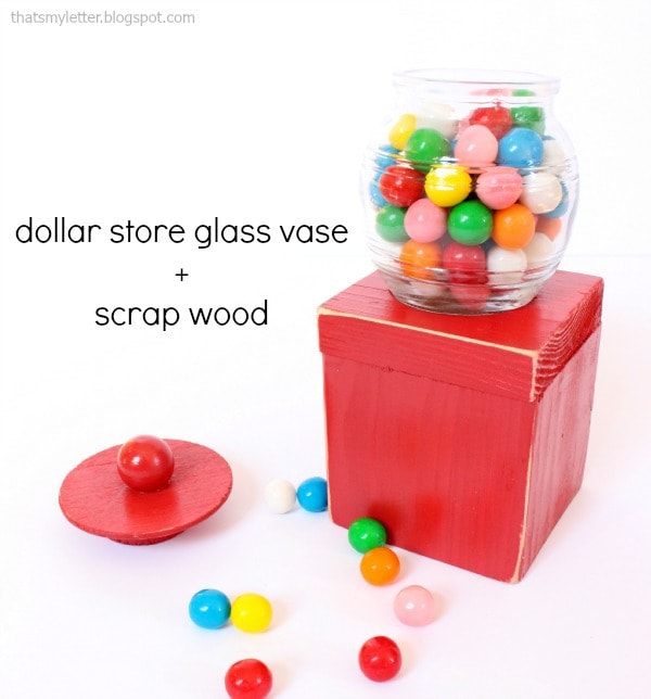 dollar store glass vase gumball machine