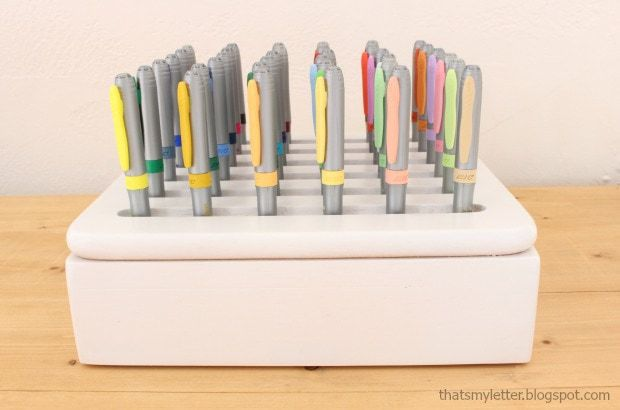 diy marker holder from old trivet