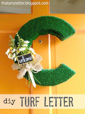 diy turf letter front door decor