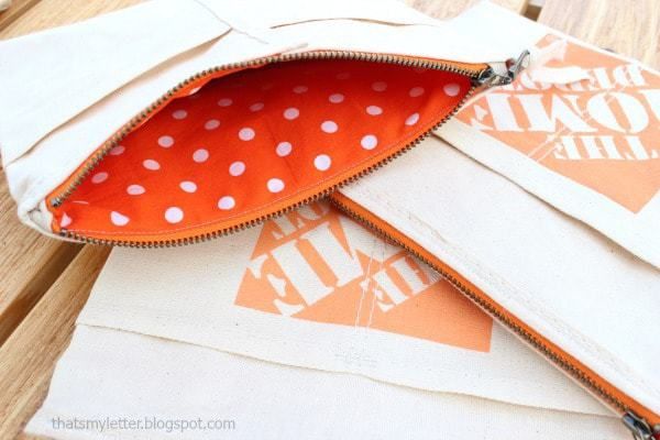 canvas pouch with polka dot lining
