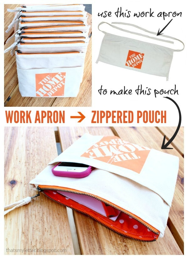 work apron made into a zippered pouch