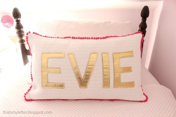 gold faux leather name pillow