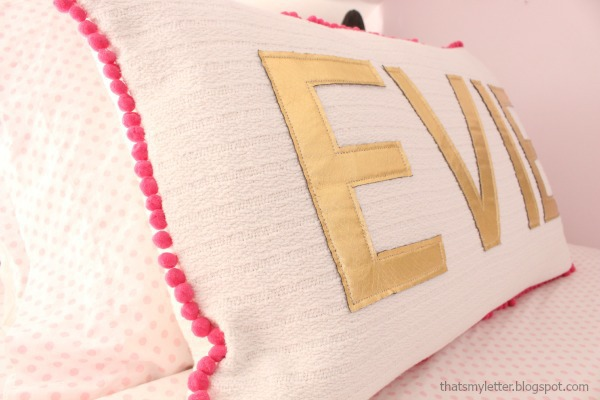 diy blanket pillow with pom pom trim