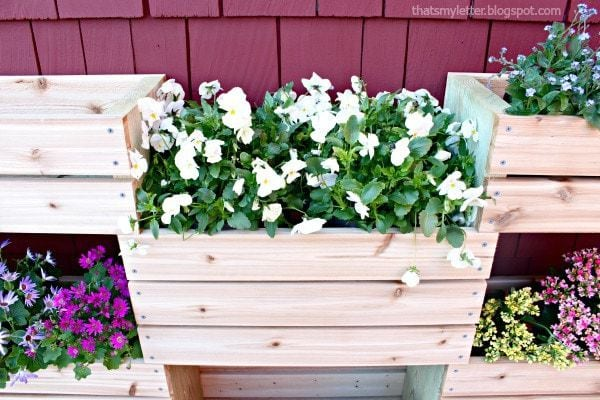 cedar planter with flowers