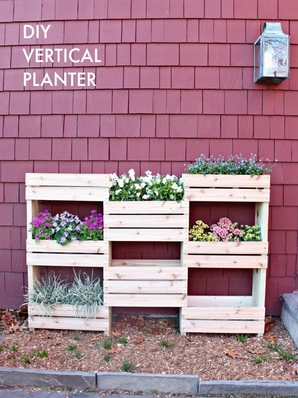vertical planter on patio