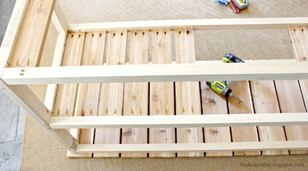 pocket holes to attach middle shelf slats