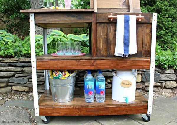 bar cart shelves and cooler compartment
