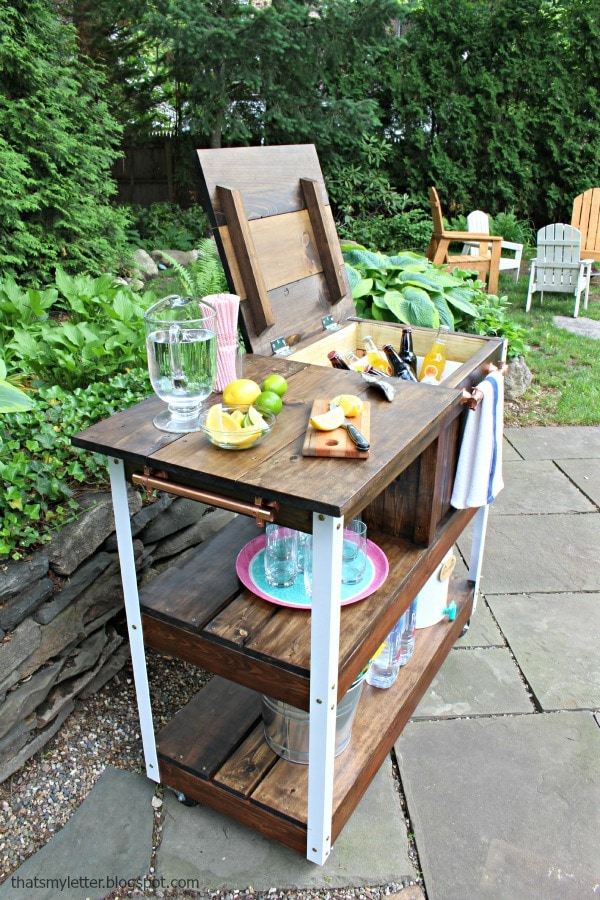 bar cart on patio