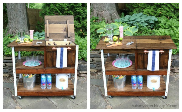 diy grill cart or bar cart with cooler storage