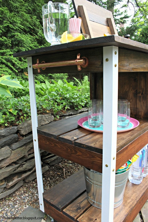 diy bar cart open shelves