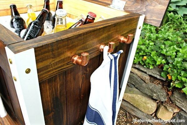 diy bar cart with copper hooks
