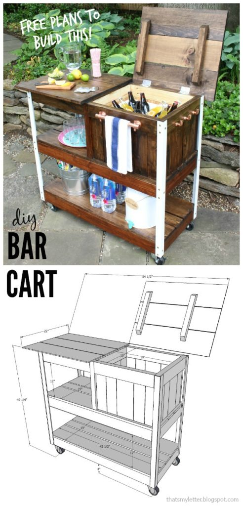 diy bar cart with free plans