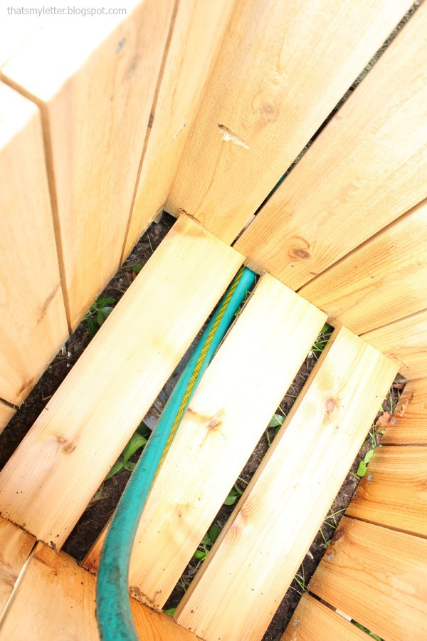 interior of planter with hose fed through bottom slats