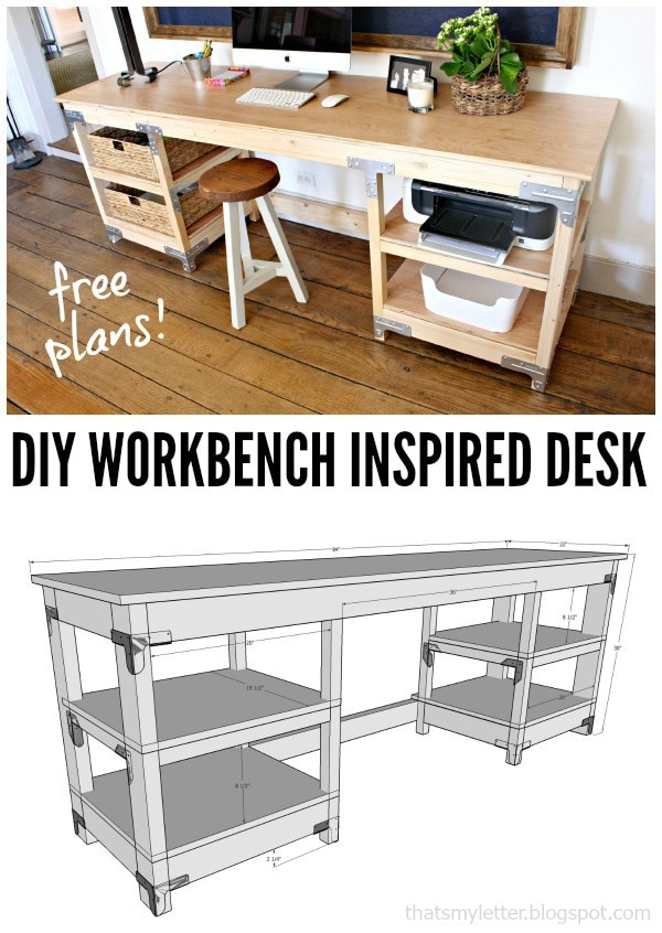 diy workbench inspired desk free plans