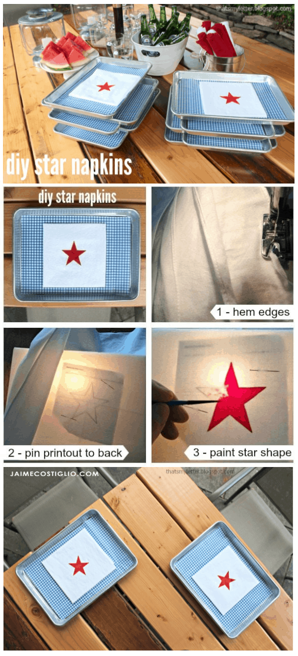 diy star napkins project